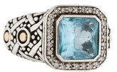 John Hardy Two-Tone Blue Topaz & Diamond Batu Sari Ring