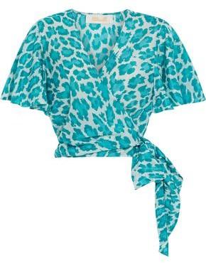 Diane von Furstenberg Hailey Leopard-print Cotton And Silk-blend Voile Wrap Top