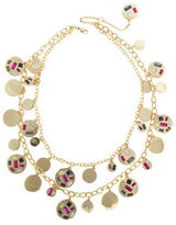 Kensie Studded Disc Two-Layer Necklace