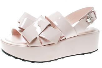 Tod's Blush Pink Patent Leather Slingback Platform Sandals Size 39.5