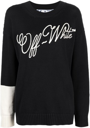 Off-White Contrasting Sleeve Embroidered Logo Jumper