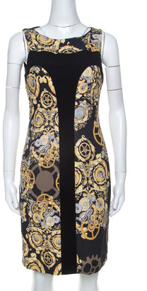 Versace Black Mechanic Print Stretch Paneled Sheath Dress M