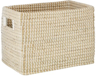 """Willow Row Rectangular Natural Woven Seagrass Basket With Insert Handles - 15"""" X 10"""""""