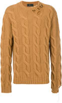 Paura distressed cable knit sweater