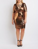 Charlotte Russe Plus Size Metallic Lattice Bodycon Dress