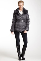 Via Spiga Quilted Genuine Dyed Rabbit Fur Collar Puffer Coat