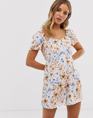 New Look square neck button through playsuit in floral print-Multi