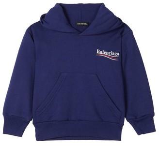 Balenciaga Kids Logo-print Cotton-blend Hooded Sweatshirt - Blue Multi