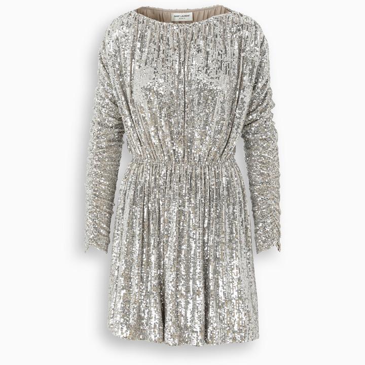 Saint Laurent Champagne sequin-embellished dress