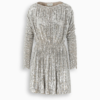 Saint Laurent Champagne sequin-embellished dress