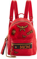 MCM Stark Leather Insignia Backpack, Red