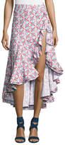 Caroline Constas Giovanna Ruffled High-Slit Skirt, Pink