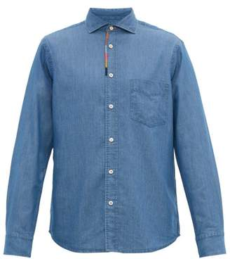 Paul Smith Artist-stripe Embroidered-placket Chambray Shirt - Mens - Light Blue