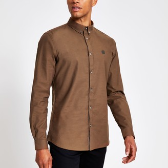 River Island Mens Brown slim fit long sleeve Oxford shirt