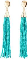 Panacea Long Seed Bead Tassel Earrings, Turquoise