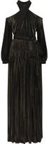 Rosetta Getty Cutout Lamé-striped Mesh Maxi Dress - Black