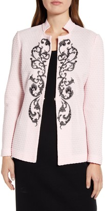 Ming Wang Embroidered Jacquard Knit Jacket