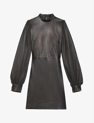 The Kooples High-neck leather mini dress