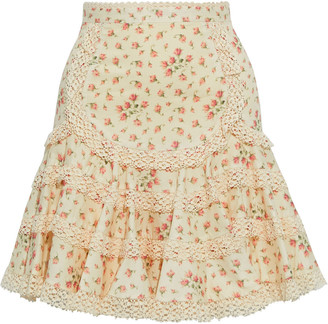 Zimmermann Freja Lace-trimmed Floral-print Cotton-jacquard Mini Skirt