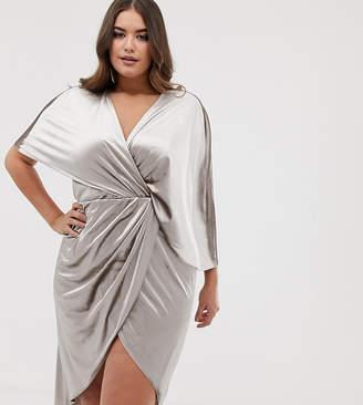 Asos DESIGN Curve midi dress in velvet with asymmetric kimono sleeve-Beige