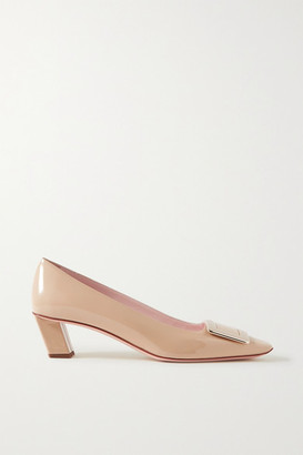 Roger Vivier Decollete Belle Vivier Embellished Patent-leather Pumps - Beige