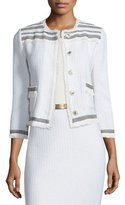 St. John Berber Knit 3/4-Sleeve Jacket, Cream/Caviar