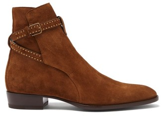 Saint Laurent Wyatt Studded Point-toe Suede Boots - Brown