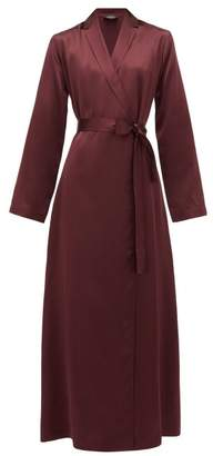 La Perla Belted Long Silk-satin Robe - Womens - Burgundy