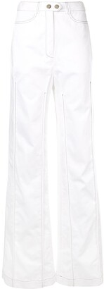 Ellery Contrast Stitching Wide Leg Trousers