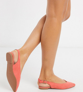 Simply Be extra wide fit Lana sling back pointed shoes in coral
