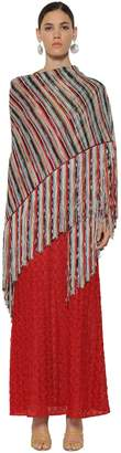 Missoni Striped Knit Lame Shawl W/ Fringed Edges