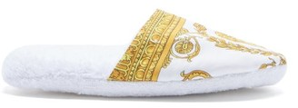 Versace Barocco-print Cotton-terry Slippers - White Gold
