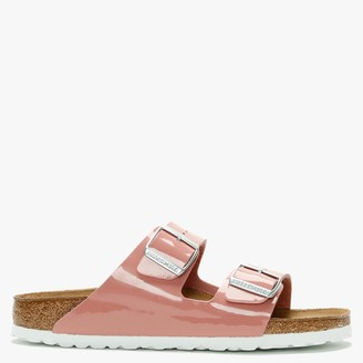 Birkenstock Arizona Birko-Flor Patent Old Rose Two Bar Mules
