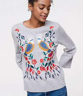 LOFT Peacock Embroidered Sweater