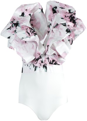 Alexandre Vauthier Pink And White Ruffle Bodysuit