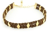 Vanessa Mooney The Davis Yellow Gold Plated Braided Faux Suede Diamond-Cut Stud Choker