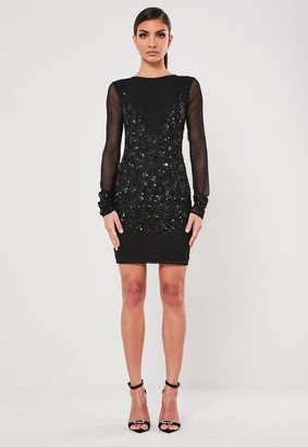 Missguided Black Embellished Bodycon Mini Dress