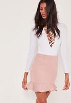 Missguided Frill Hem Scuba Mini Skirt Pink