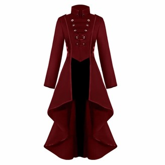 Saihui Women Coats & Jackets Womens Coat Autumn Winter Jackets Steampunk Vintage Gothic Victorian Medieval Tailcoat Ladies Army Military Jacket Lapel Long Trench Coats Blazer Fashion Halloween Cosplay Outwear (Red S)