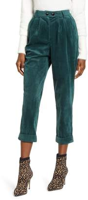 ALL IN FAVOR High Waist Wide Wale Corduroy Ankle Trousers