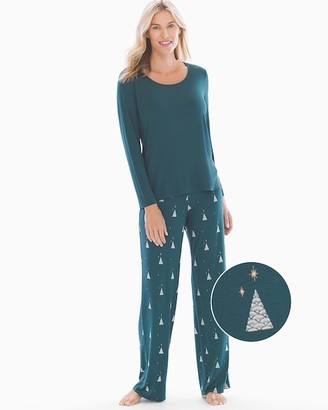 Soma Intimates Long Sleeve Pajama Set Deco Trees Deep Teal RG