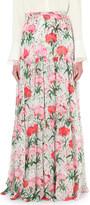 Erdem Tiered floral-print silk maxi skirt