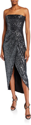 Rasario Strapless Sequined Wrapped Gown