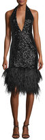 Milly Amelia Plunging Halter Sequined Cocktail Dress