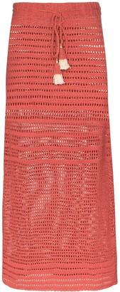 She Made Me Indra crochet-knit midi skirt