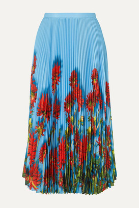 Dries Van Noten Sax Pleated Floral-print Crepe De Chine Midi Skirt - Light blue