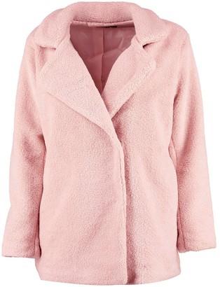 boohoo Petite Double Breasted Teddy Coat