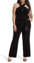 Tahari Plus Size Women's Halter Velvet Jumpsuit