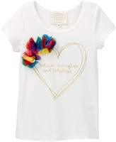 Hannah Banana Gold Foil Heart Print Floral Applique Tee (Toddler & Little Girls)