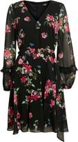 Wallis Black Floral Print Ruffle Sleeve Dress